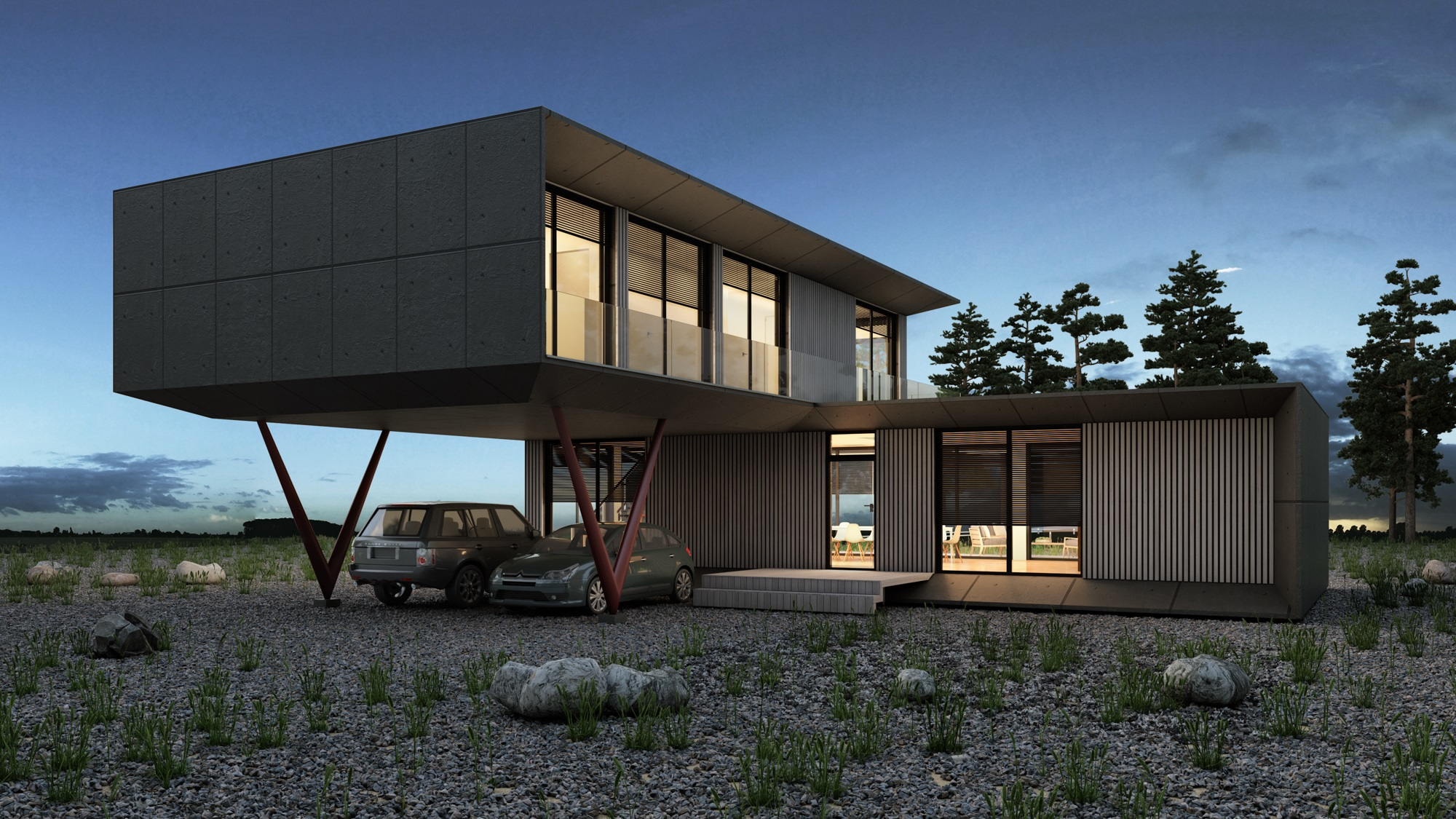 3d exterior architecture render visualization